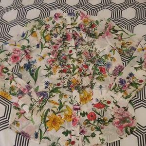 H&M Floral Garden Print Button Down Blouse